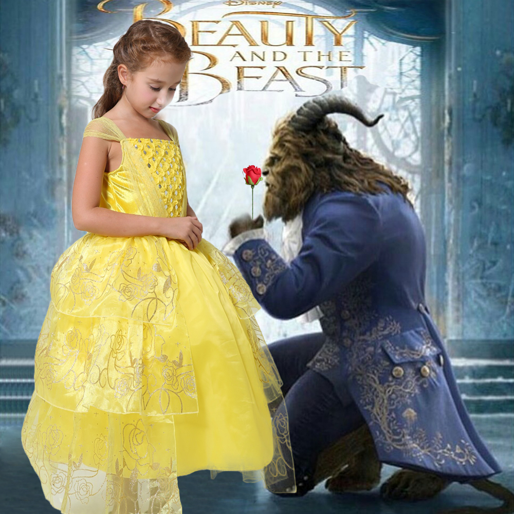 2017 movie Beauty and the Beast Belle Princess cosplay Dress Girl ball gown Long dress kids Party dress free crown аксессуары для косплея random beauty cosplay