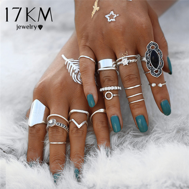17KM Boho Vintage Black Stone Knuckle Ring Set For Women Anillos Crystal Heart C