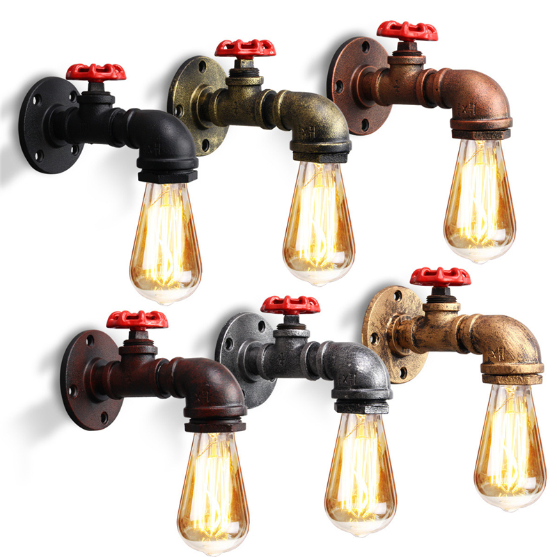 E27 Vintage Industrial Retro Rustic Wall Light Holder Lamp Base Sconce Light Fixture Fitting Water Pipes Style Indoor Decor