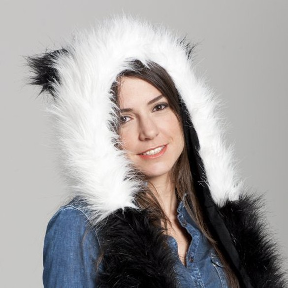 2017 Fashion Women hat  winter animal  faux fur one piece cartoon cap belt  Christmas gifts