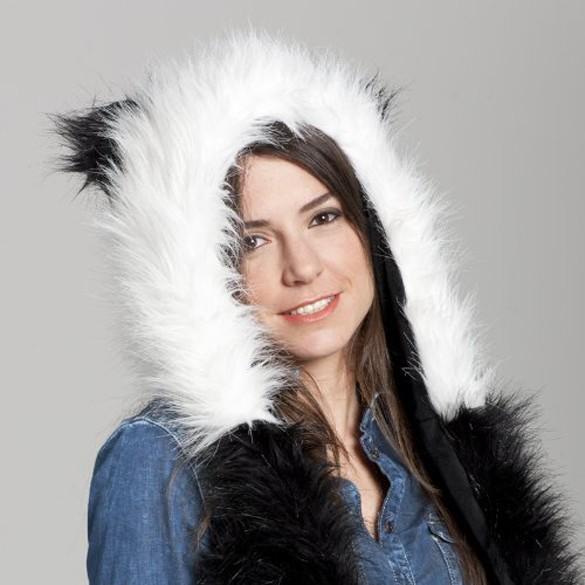 2017 Mulheres Da Moda inverno chapéu cap animais faux fur one piece desenhos animados presentes de Natal cinto