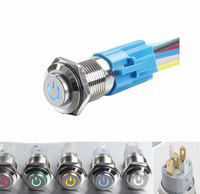DC12V 2A 16mm Metal Button Switch ON OFF Switch Led Power Symbol Self Locking Switch DC6