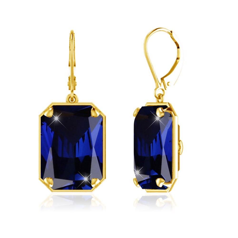 Szjinao dropshipping 2019 gold long earrings for women wedding  Jewelry sapphire 925 Sterling Silver Earrings Birthstone