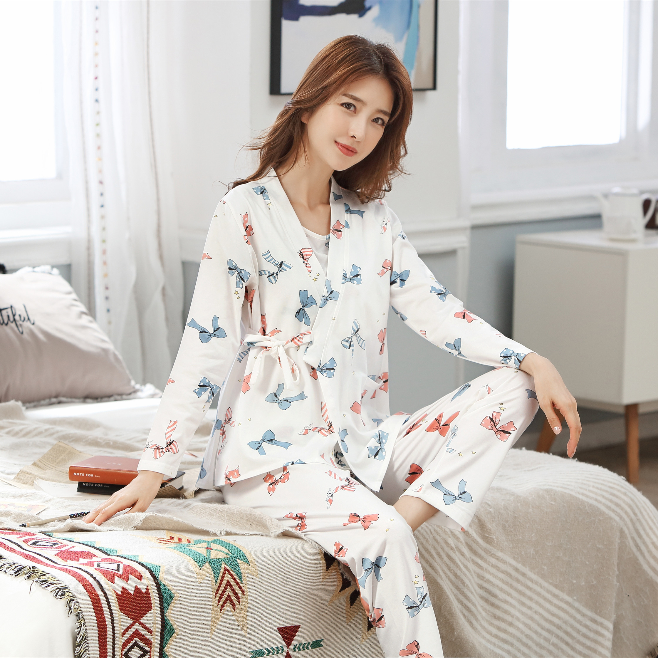 3 PCs/Set Cotton Maternity Nursing Sleepwear Breastfeeding Nightwear For Pregnant Women Pregnancy Breast Feeding Pajamas Suits