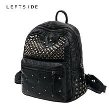 LeftSide 2017 женщин Водонепроницаемый из искусственной кожи с заклепками рюкзак женские рюкзаки для девочек-подростков женские сумки на молнии черные мешки