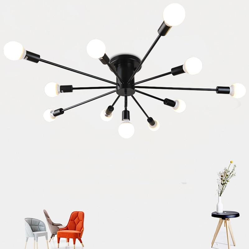 estrela do metal do vintage iluminacao lustre retro aranha sputnik lustres semi flush mount lampada do