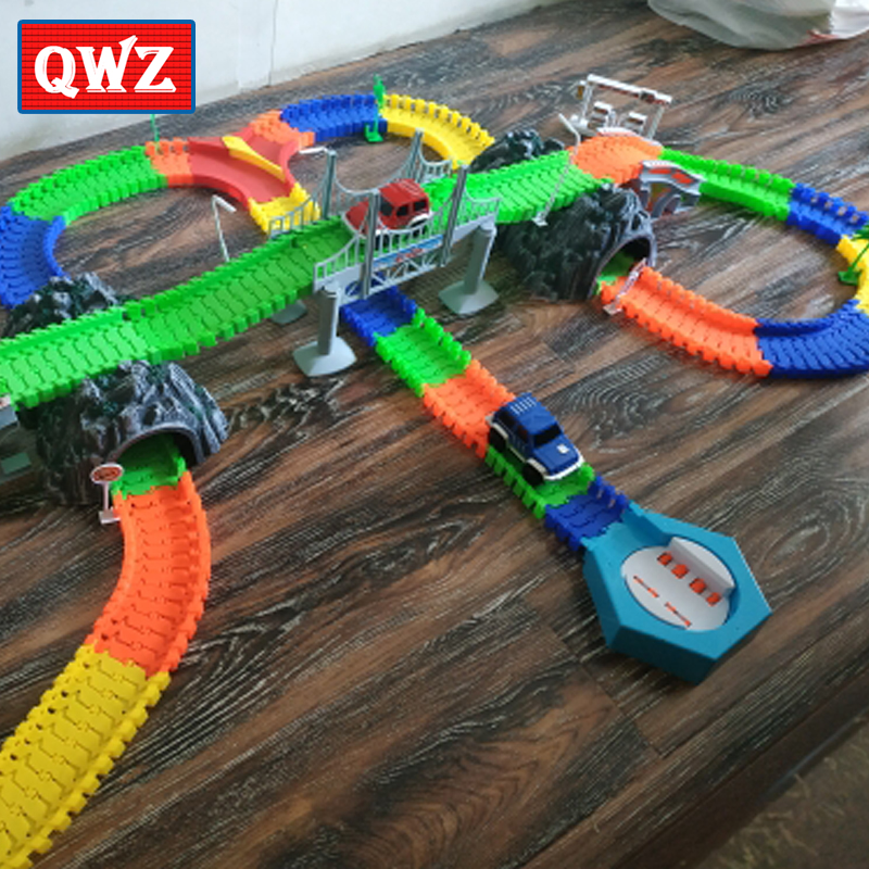 QWZ Railway Luminous Racing Flexible Track Play Set Bend Glow In Dark Electronic Light Car Race Track DIY Toys For Children Gift