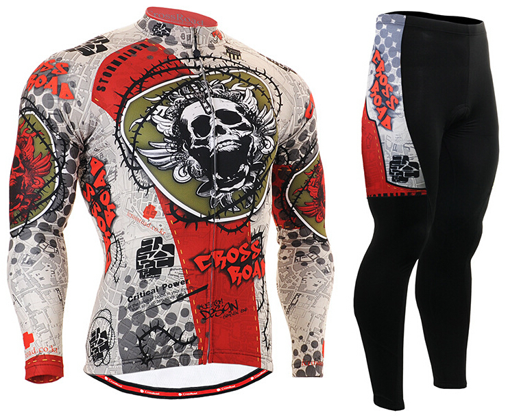 Hot Sale Mens Cycling Jerseys Sets Bike Long Bicycle Clothings Skull Unique Printing Quick Dry Fabric Outdoor Sports Wears nuckily quick dry anti uv long sleeve bicycle jerseys sets windproof cycling clothing gel padds bike pants cycling jerseys sets