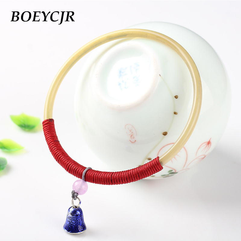 BOEYCJR 9 Style Available Tibetan Horn Bangles & Bracelets Vintage Ethnic Fashion Jewelry Braided Rope Bangle For Women Gift