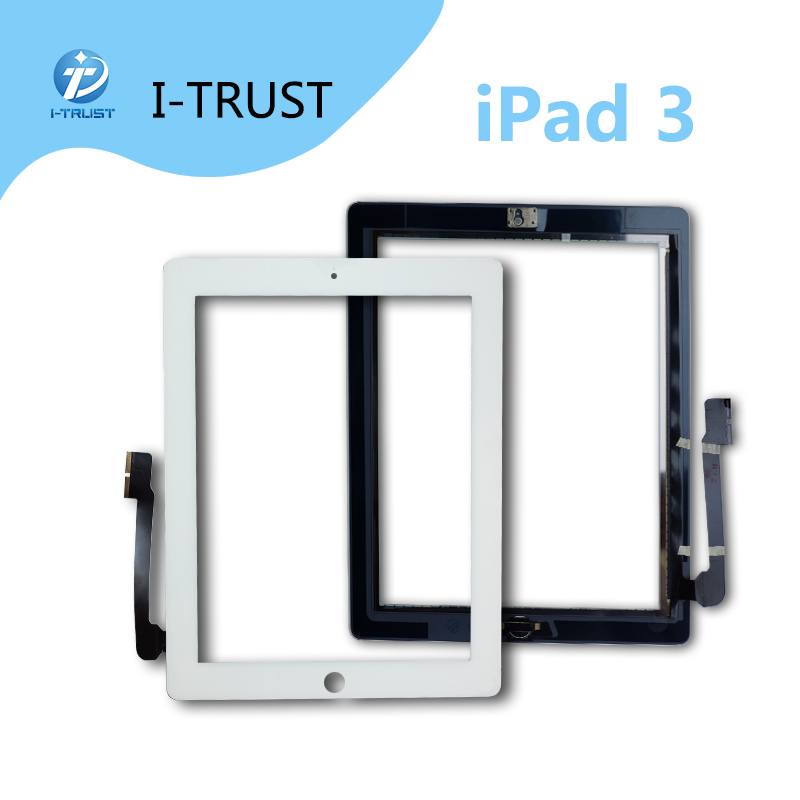 50 PCS LOT Screen Digitizer for iPad 3 complete with home button and adhesive touch screen