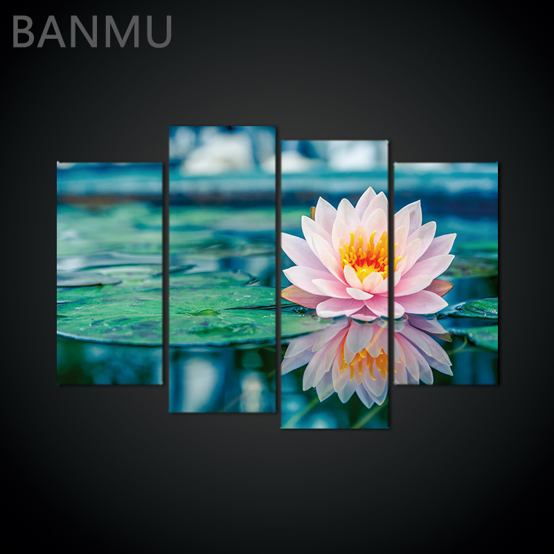Wall Canvas Print painting Flower White Black Wall Art Picture with Modern 4 Pcs Wall Paintings Decoration Modular picture