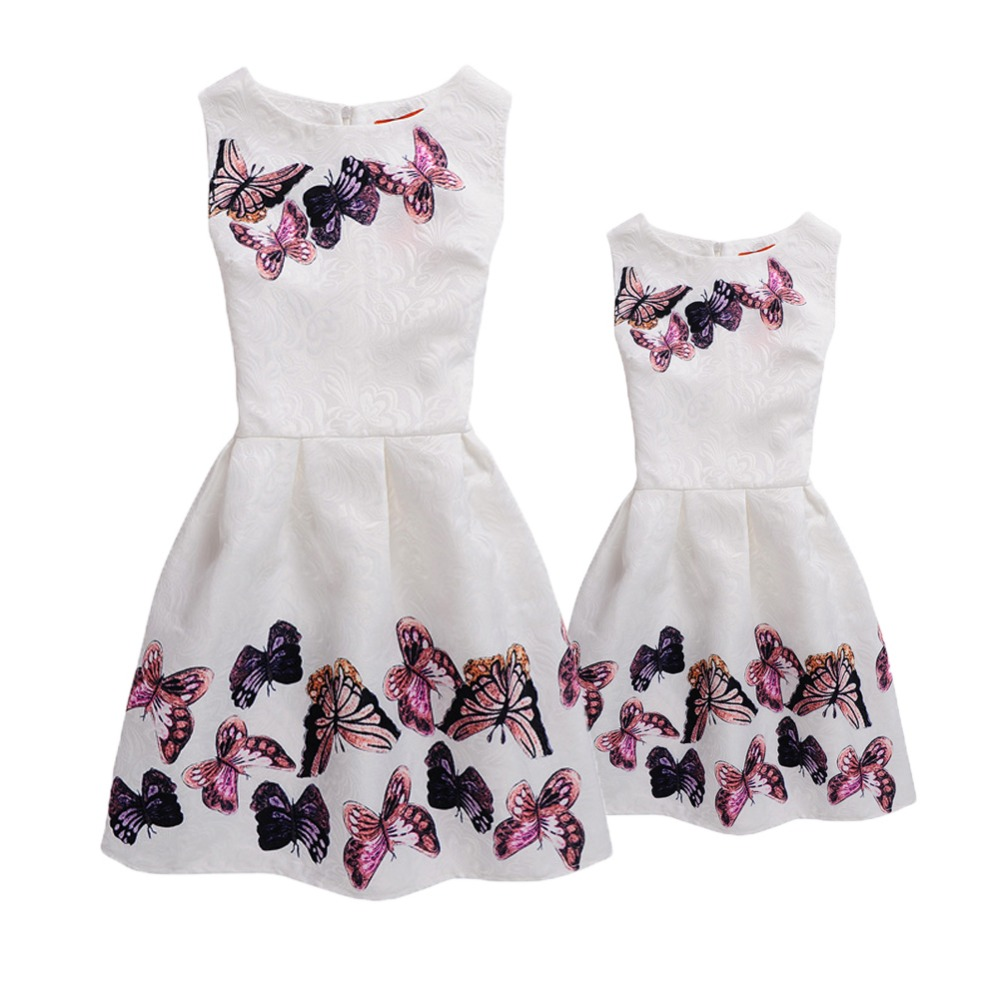 Fashion Mommy and me Clothes Matching Sister Outfits Casual Mother and Daughter Dress Butterfly Print Vintage Teenage Girl Dress