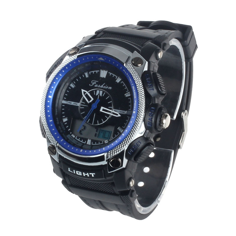 blue shope#3005 Digital LED Alarm Military Waterproof Rubber Quartz Watch