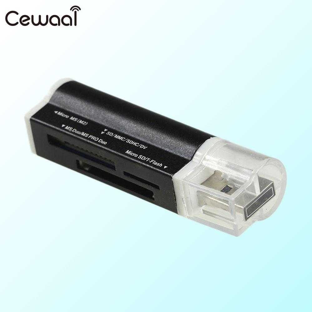 Cewaal Portable Card Reader Adapter All In One Multifunction Memory High Speed USB2.0 SD/TF/MS Universal Card Reader