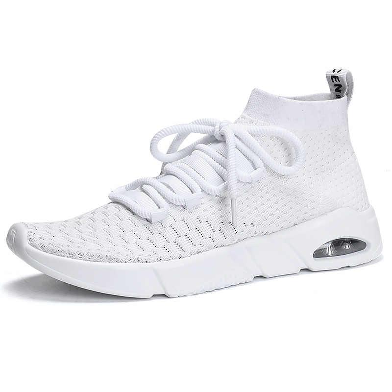 2019 de Alta Moda Top Sapatos De Tênis para Os Homens Meias Vermelhas Tênis de Ginástica Almofada de Ar Malha Calçados Esportivos Chaussures Tenis Masculino homme