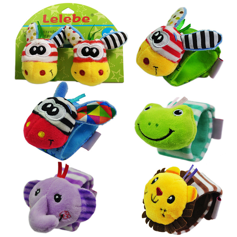 2pc/set Infant Baby Adjustable Wrist Band Rattles Mobile Soft Plush Toy Cute Animals Handbell Newborn Baby Toy Ring Bell