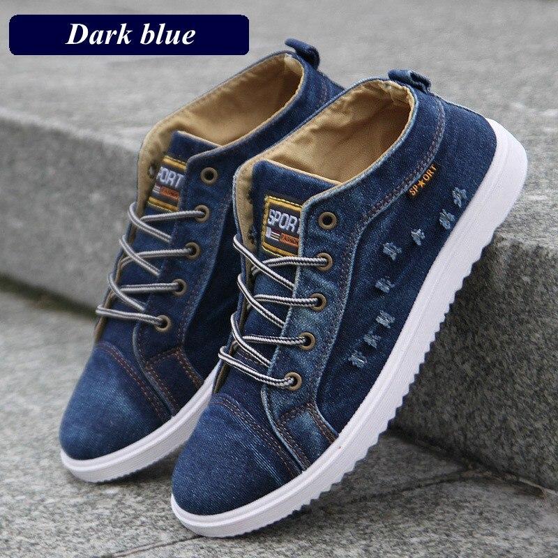 Модные джинсовые мужские парусиновые туфли мужская обувь повседневная высокие кроссовки 2019 летние дышащие кеды мужская обувь на плоской подошве