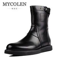 MYCOLEN мужские ботинки Повседневные Классические мужские ботинки винтажные кожаные ковбойские ботинки для мужчин Натуральная кожа уличная В