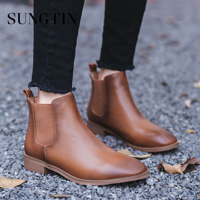 61c4fe28dae51 Sungtin Genuine Leather Classic Chelsea Boots Women Flat Ankle Boots Solid  Plush Warm Winter Short Boots