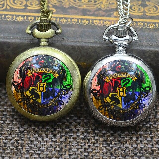 Wholesale Fashion Quartz Harry Potter Hogwarts Pocket Watch Necklace Woman Draco