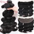 Ali Moda Hair Brazillian Body Wave With Frontal Closure 8a Unprocessed Human Hair Bundle With Frontal Closure Ear To Ear Wavy