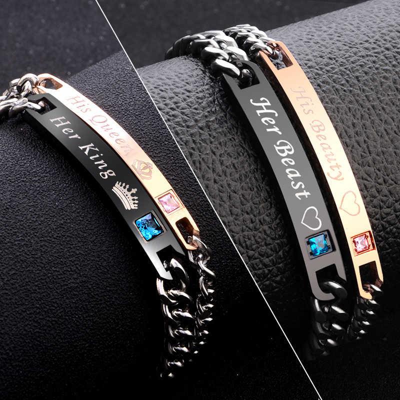 Черный, розовый, золотой цвет женский браслет мужской 2 стиля его королева ее король браслет Мужская цепочка Кристалл Пара браслет возлюбленной для мужчин