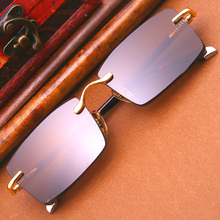 Vintage Luxury Rimless Sunglasses Men Women 2019 Retro Natural Crystal Sun Glasses Man Rectangle Brown Anti Scratch UV400 Oculos