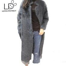 LOVELYDONKEY mink cashmere sweater women  cashmere cardigan knitted mink jacket fashion winter long fur coat free shipping M283