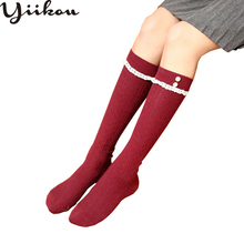Female Spring and Autumn New Cotton Buttons Tube stockings Womens Japanese Sweet Knee stocking College Wind Pile Stocking