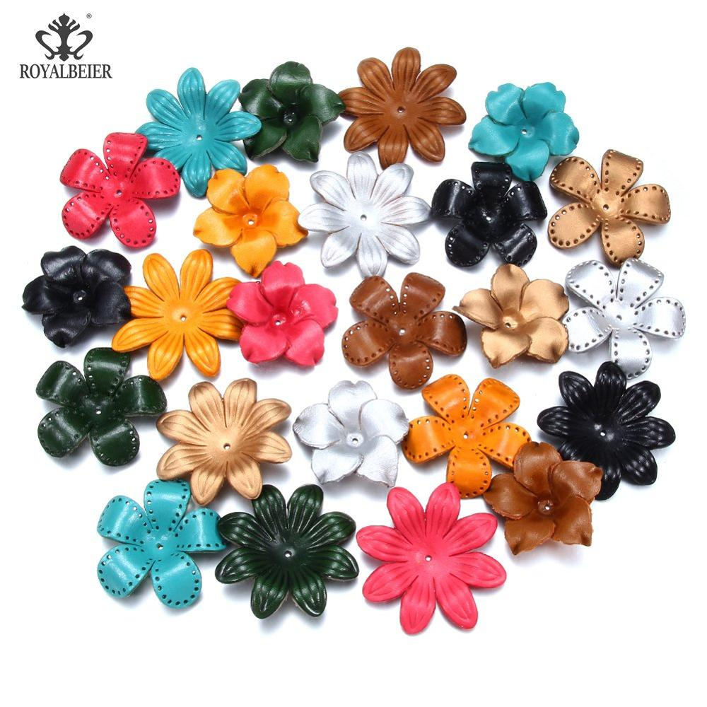 RoyalBeier Artificial Leather Petal Pendant Necklace Jewelry Headwear Brooch Accessories DIY Fake Flower Ornament