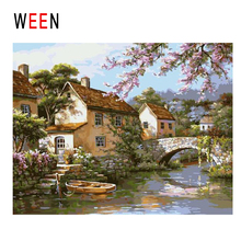 WEEN Town Diy Painting By Numbers Abstract Bridge River Oil On Canvas Tree Cuadros Decoracion Acrylic Wall Art Gift