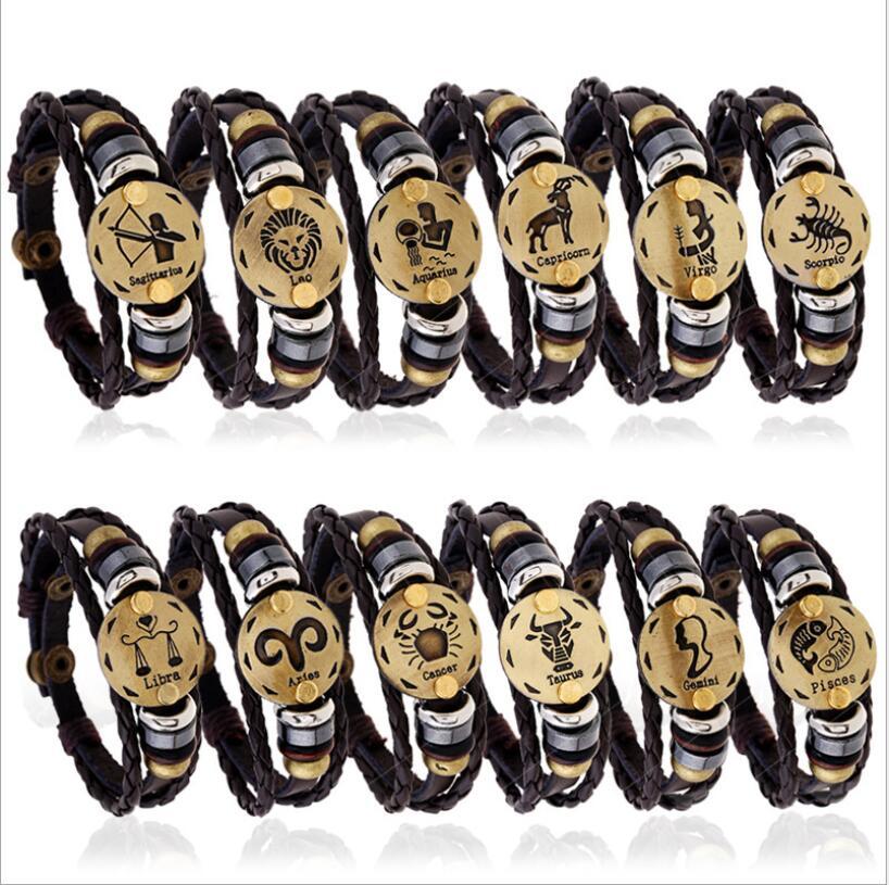 17 New 12 Constellation Bracelet Men Women Braided Genuine Leather Bracelets & Bangles pulseira masculina erkek bileklik Z90 2