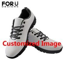 FORUDESIGNS Custom Images or Logo Women Men Summer Spring Sneakers Flat Shoes Comfortable Breath Mesh for Teen Girls Boys