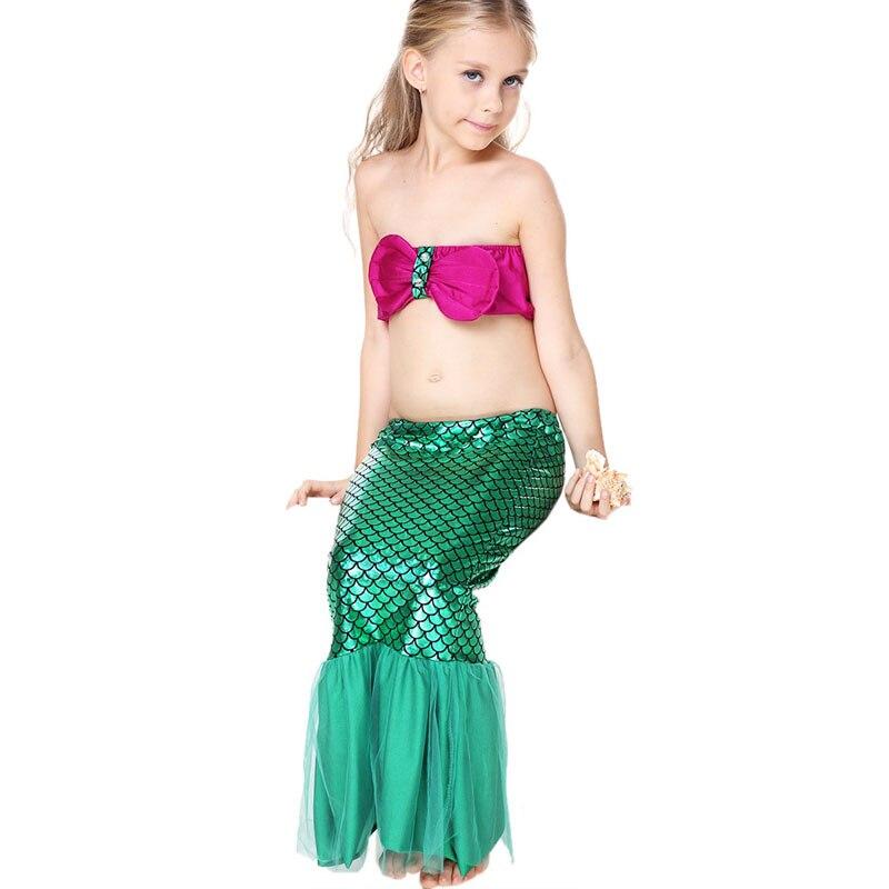 2017 forró gyermek lányok nyári skála A sellő vállnélküli bikini szoknya szoknya Háromrészes fürdőruha Fürdőruha Gyerek fürdőruha