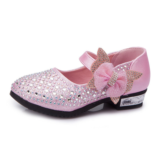 Hot Sale Bowknot Princess Kids PU Shoes Crystal Decorated Children Shoes Girls Shoes 3 Color Free Shipping YY0689