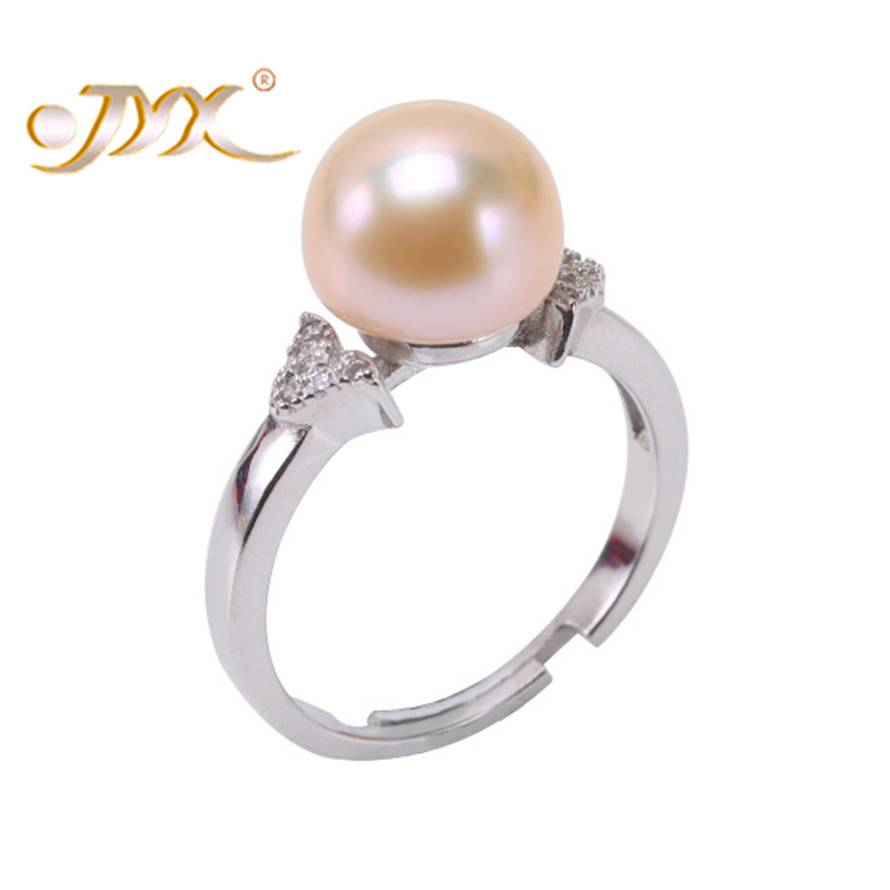 JYX 9.5mm Pink Genuine Freshwater Pearl Ring Shiny Crystal in 925 Sterling Silver Jewerly jyx 9 5mm pink genuine freshwater pearl ring shiny crystal in 925 sterling silver jewerly