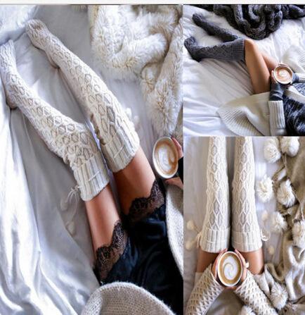 Outono Inverno Mulheres Longas Meias Moda Sólidos Meias de Tricô das Mulheres