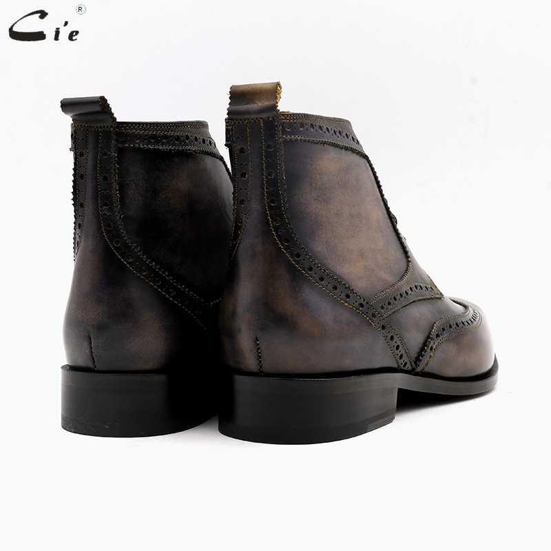 Cie квадратный броги toe полное зерно натуральной телячьей кожаные ботинки патина серый ручной работы кожа шнуровкой Дерби ботильоны uomo scarpe A01