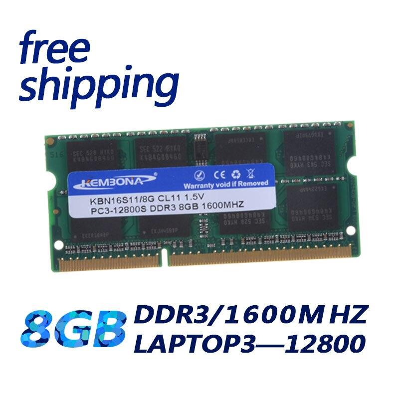 Momery KEMBONA frete grátis Módulo Notebook Laptop DDR3 8 GB DDR3 SO-DIMM PC3-12800 8G 1600 Mhz RAM Para MacBook mac Mini