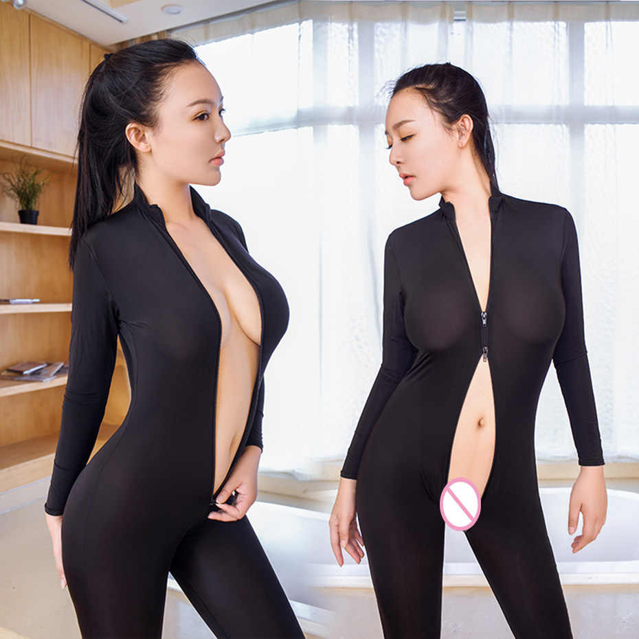 Sexy Women Two Way Zipper Erotic Open Crotch Costume Transparent Bodysuit Turtleneck Body Stockings Wear Sexy Lingerie