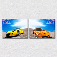 Designs Pictures Yellow Car And Orange Car Under The Fresh Blue Sky Modern Fashion Pictures Printed