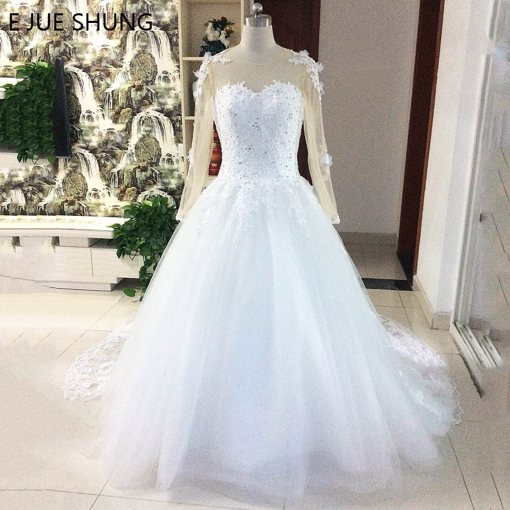 E JUE SHUNG White Lace Appliques Ball Gown Wedding Dresses