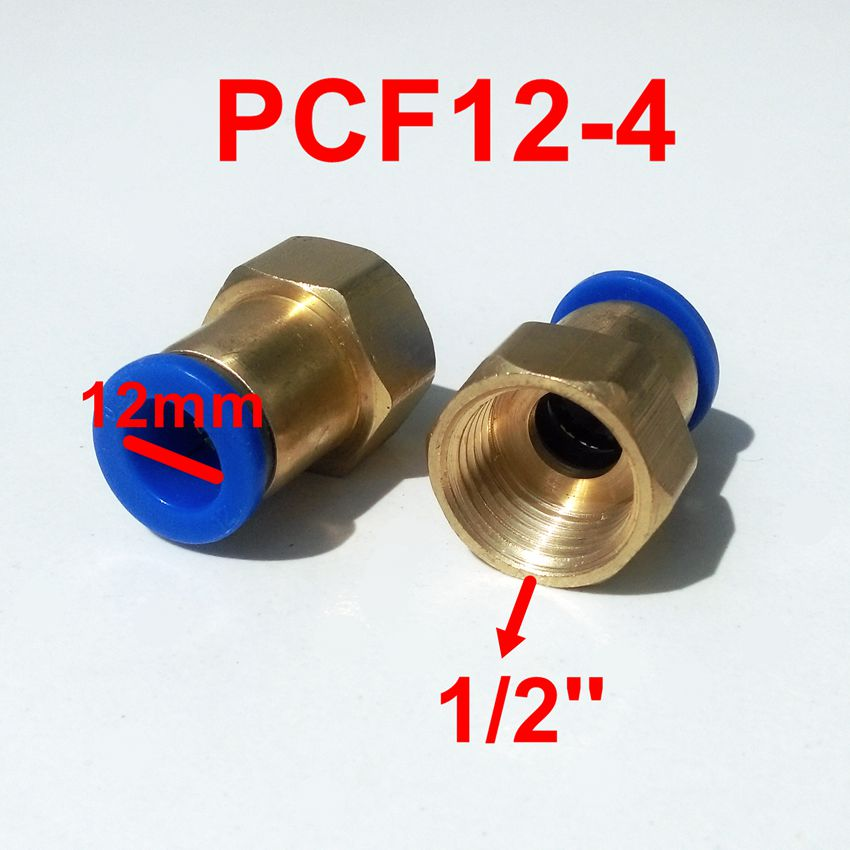 5pcs/lot 12mm Tube 1/2'' Internal Thread Pneumatic Fitting Quick Joint Connector PCF12-4 pipe fitting 3pcs brass internal hex head socket 1 2 pt thread pipe plug fitting