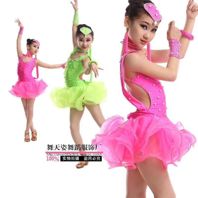 Child Latin dance costume sexy spandex Embroidery children latin dance dress for child competition dresses S-XXXL 2colors