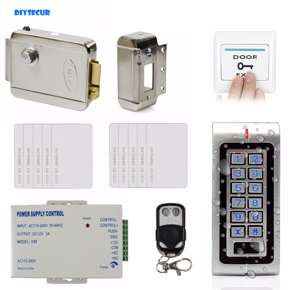 DIYSECUR W1 Complete RFID Access Control System Kit Set + Electric Door Lock + 10 RFID Cards + Remote Control digital electric best rfid hotel electronic door lock for flat apartment