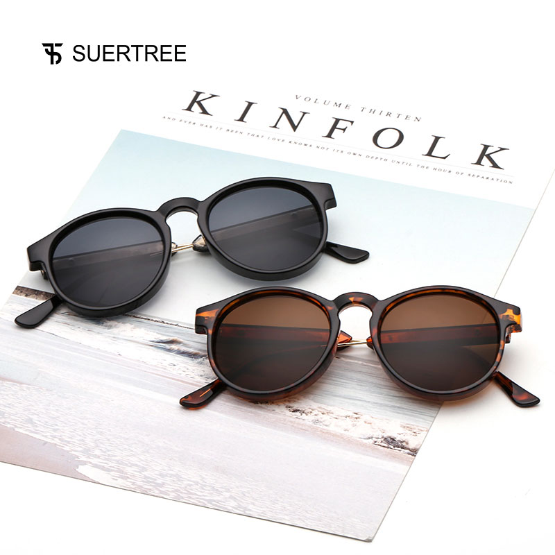 SUERTREE Round Sunglasses Retro Women Men Vintage Mirror Sunglasses Male Fashion New Arrival for Travel Brand Designer 9005