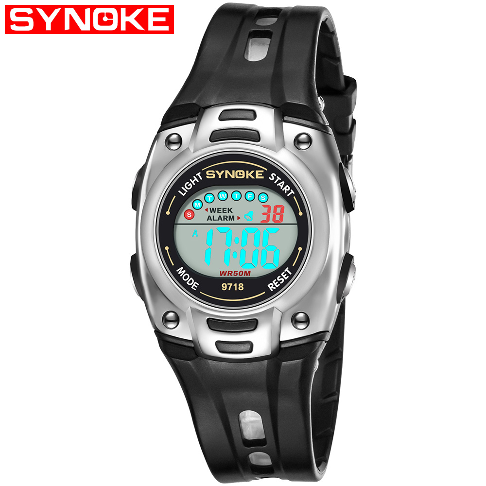 лучшая цена SYNOKE Kid Digital Watch Sports Waterproof LED Alarm 12/24H Stopwatch Calendar Wrist Watches for Boy Girl 9718