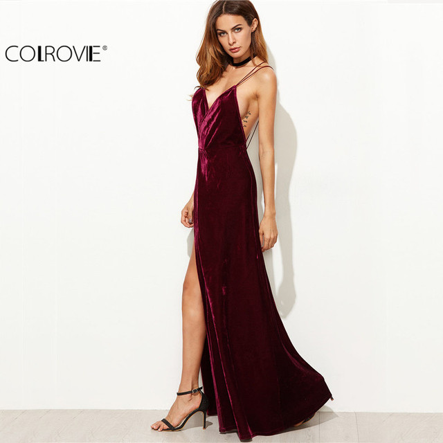Aliexpress.com : Buy COLROVIE Burgundy Velvet Maxi Backless Dress ...
