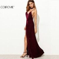 COLROVE Womens Dresses New Arrival Party Dresses Maxi Dresses Elegant Dress Burgundy Strappy Backless Velvet Wrap