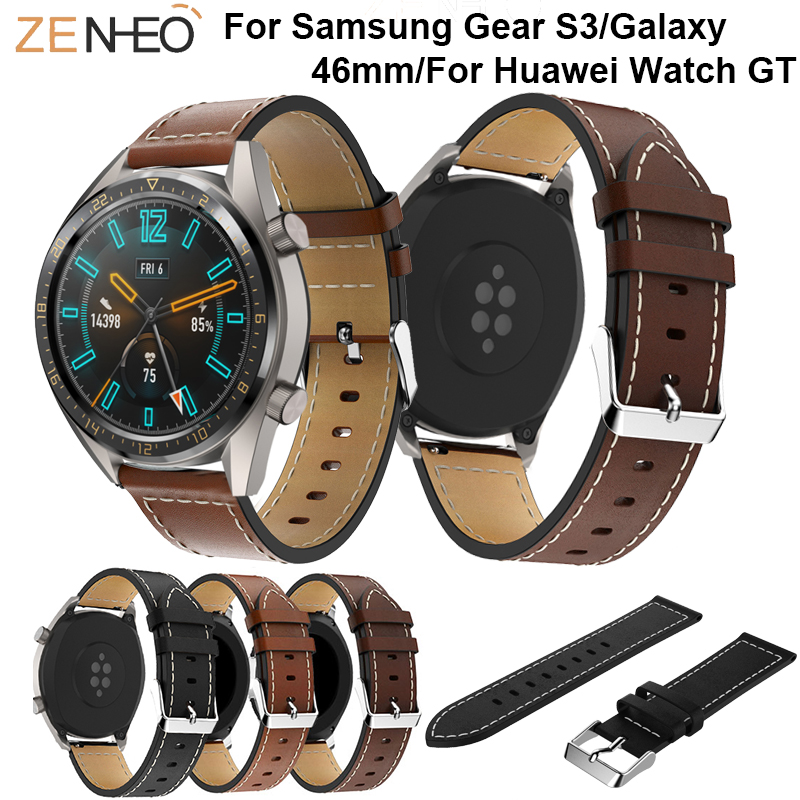 Leisure Leather Watch Strap For Samsung Gear S3 Frontier Classic Wristband Replacement For Huawei Watch GT Watches Belt Bracelet